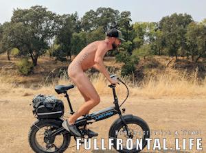 Naked Man Rides an E-bike